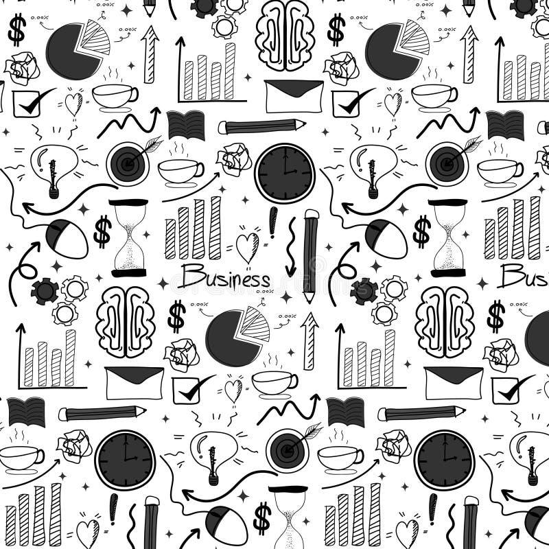 Patroon met van de Bedrijfs lijnhand Getrokken Krabbel Achtergrond royalty-vrije illustratie