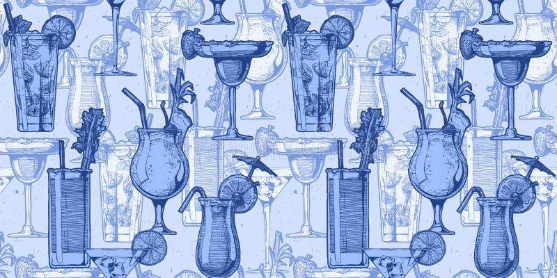 Patroon met verschillende cocktails vector illustratie
