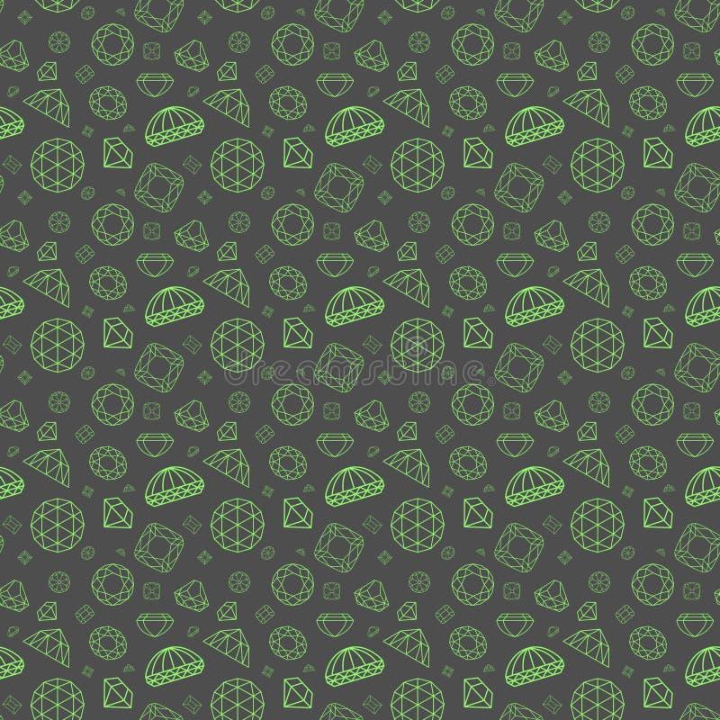 Patroon met verschillende diamanten stock illustratie