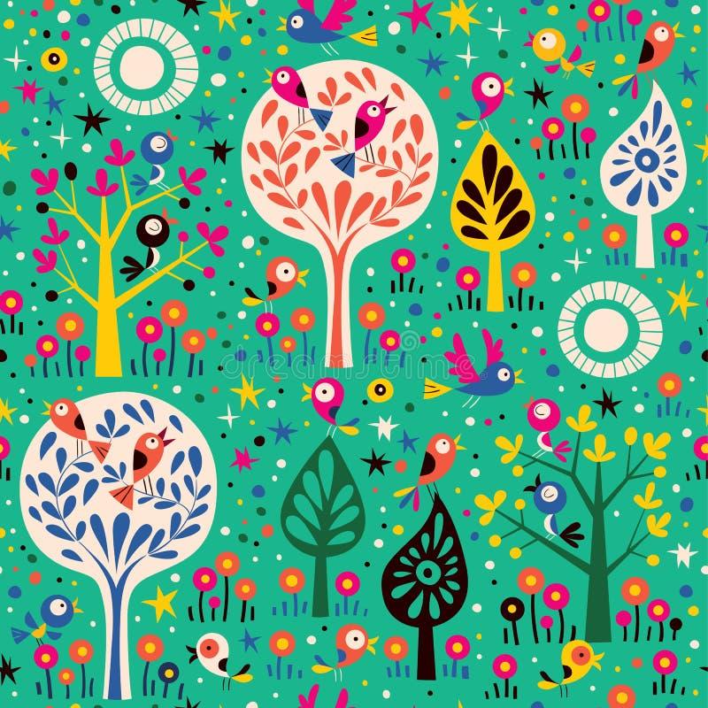 Patroon met vogels in de bomen