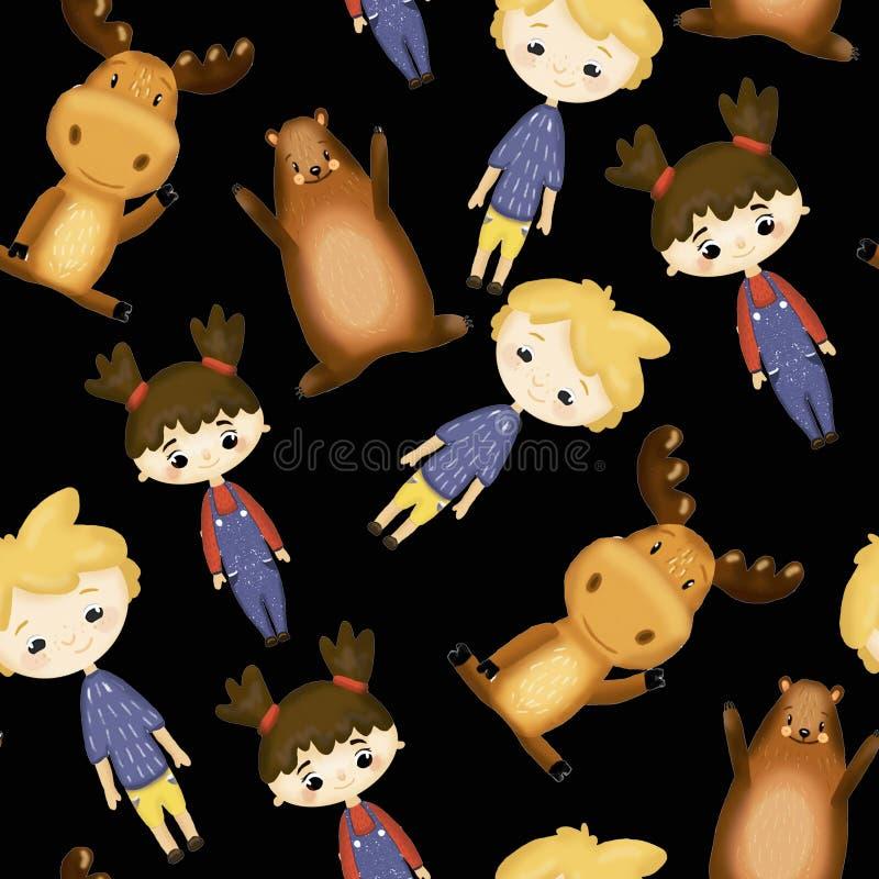 Patroon met vrolijke kinderen stock illustratie
