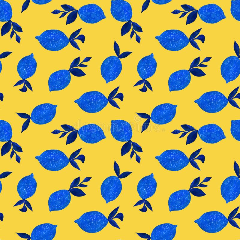 Patroon met waterverfcitroenen royalty-vrije stock afbeelding
