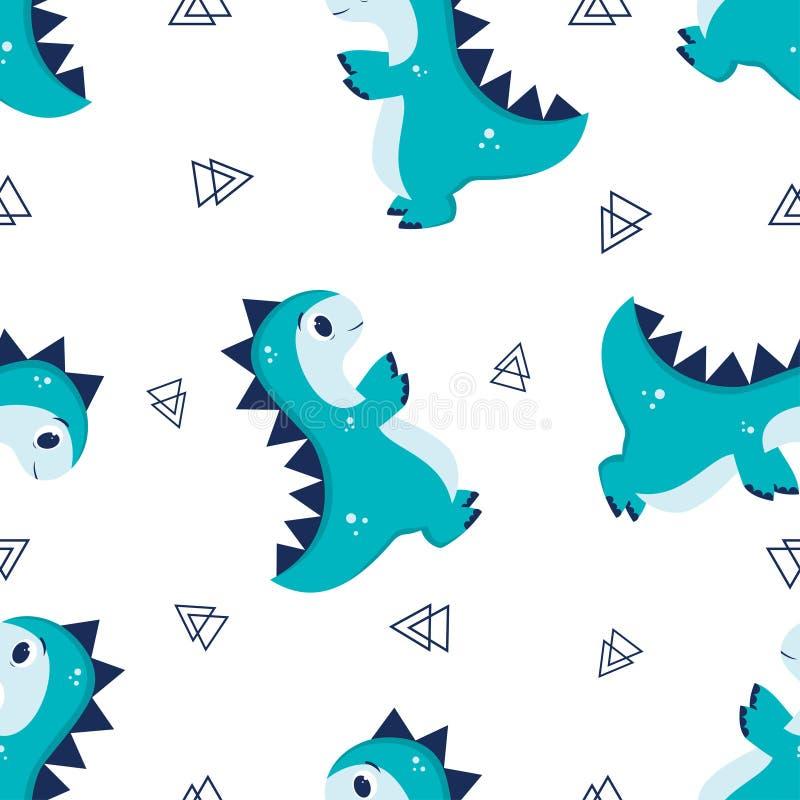 Patroon met weinig Dino stock illustratie