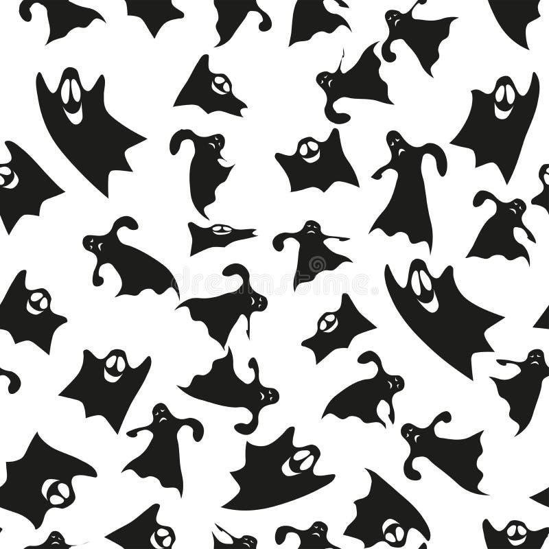 Patroon met zwarte spoken op een witte achtergrond stock illustratie