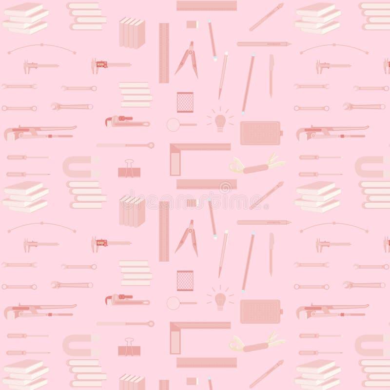 Patroon naadloze reeks van hulpmiddelmateriaal voor het ontwerpkunstenaar van het ingenieursonderwijs technicain Vector illustrat royalty-vrije illustratie