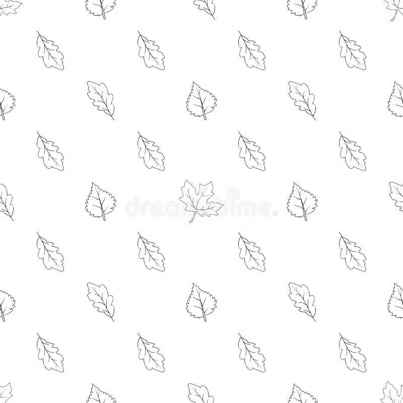 Patroon naadloze zwart-wit met bladeren 01 vector illustratie