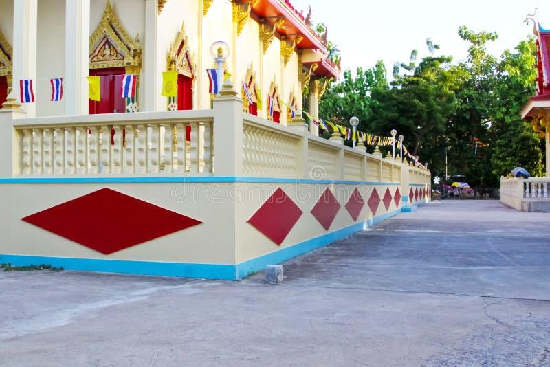 Patroon op van Achtergrond Thailand van de tempelmuur textuur stock afbeelding