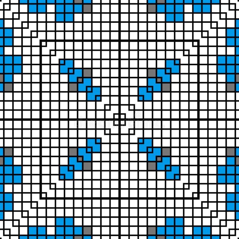 Patroon of ornament van borduurwerk Abstract mozaïek van blauwe kleur royalty-vrije illustratie
