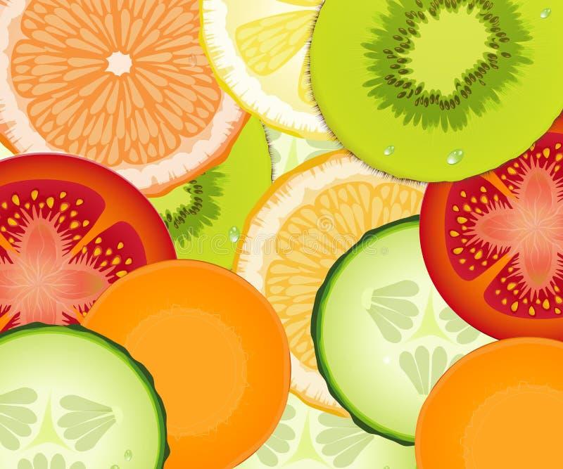 Patroon realistische tomaat, komkommer, citroen, wortel, grapefruit, sinaasappel, kiwi, verse vegetarische textuur, royalty-vrije illustratie