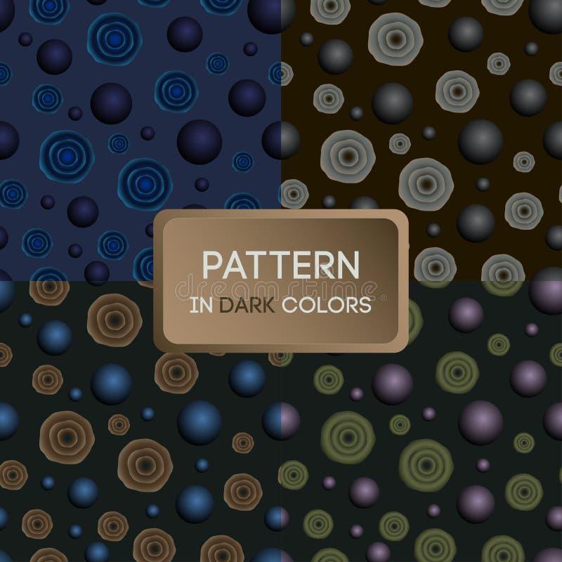 Patroon 02 a-reeks patronen in donkere kleuren, bloemen en ballen royalty-vrije illustratie