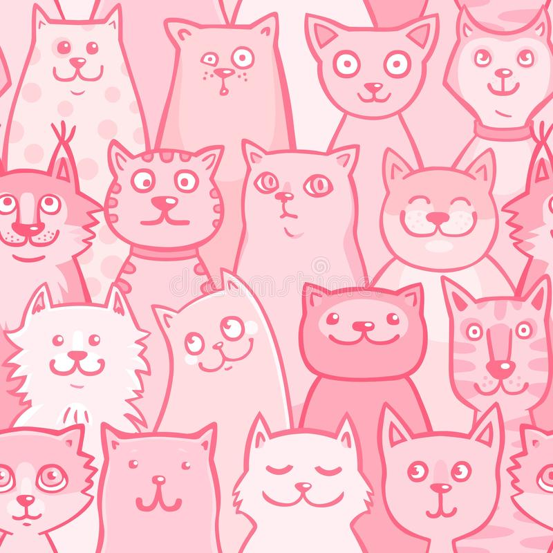 Patroon roze katten royalty-vrije illustratie