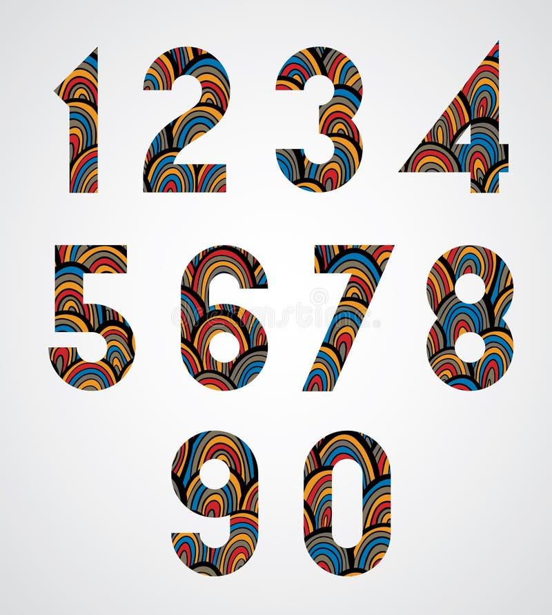 Patroon sier kleurrijke abstracte aantallen royalty-vrije illustratie