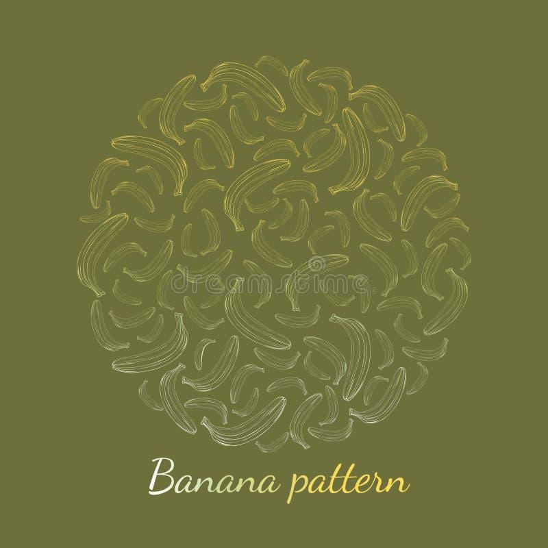 Patroon van banaanoverzicht op een groene achtergrond stock illustratie
