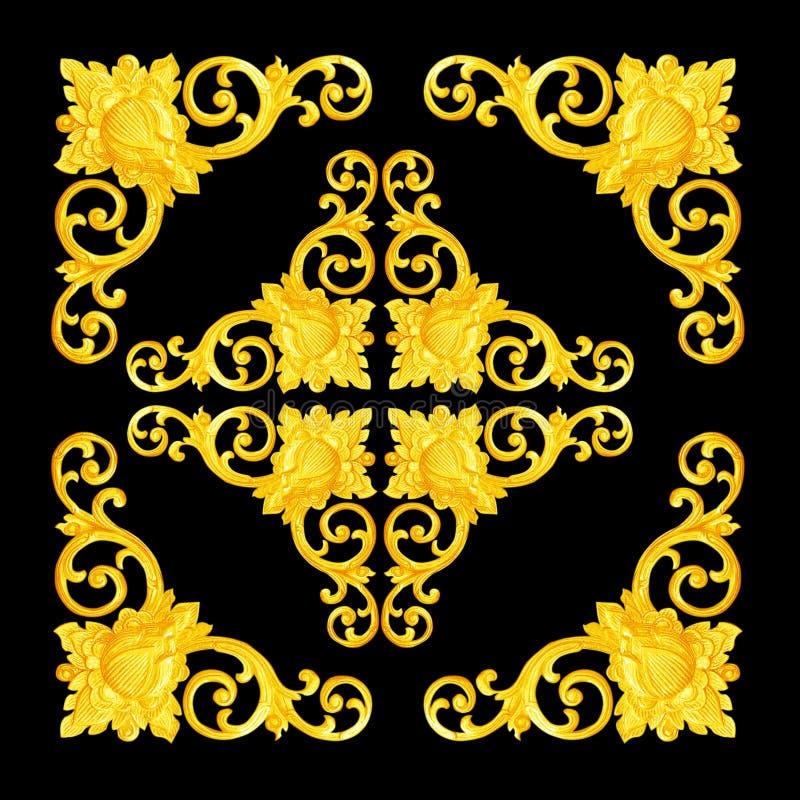 Patroon van bloem dat op hout voor decoratie op blac wordt gesneden stock afbeeldingen