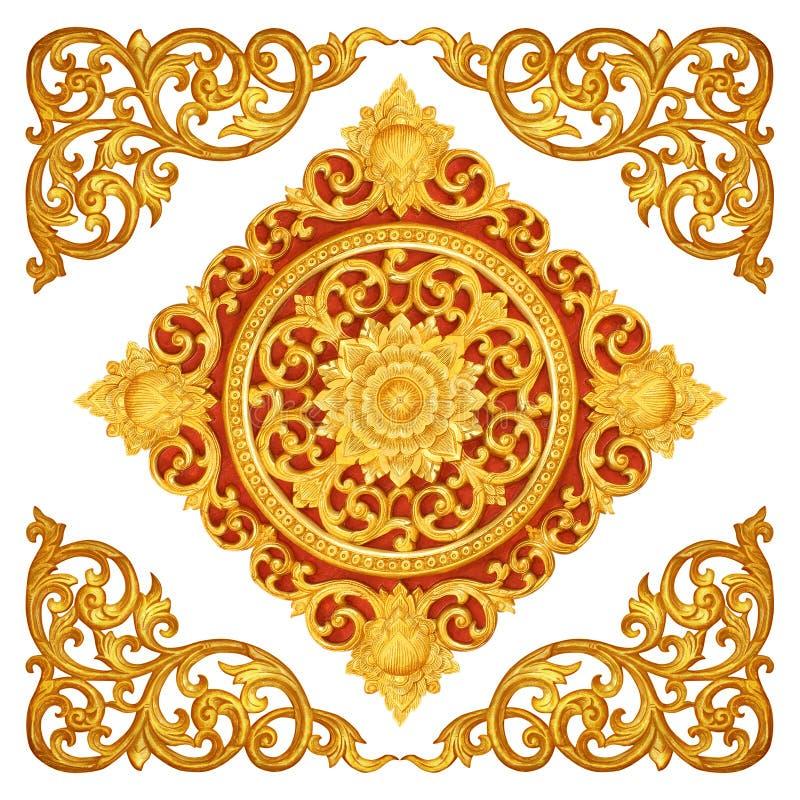Patroon van bloem dat op hout wordt gesneden royalty-vrije stock foto
