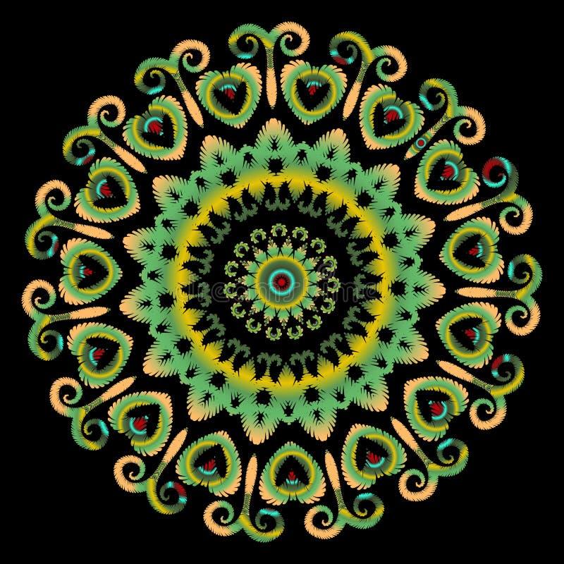 Patroon van borduurwerk het kleurrijke bloemen kanten mandala Vector grungy achtergrond Geweven bloemen etnisch kantornament met  royalty-vrije illustratie