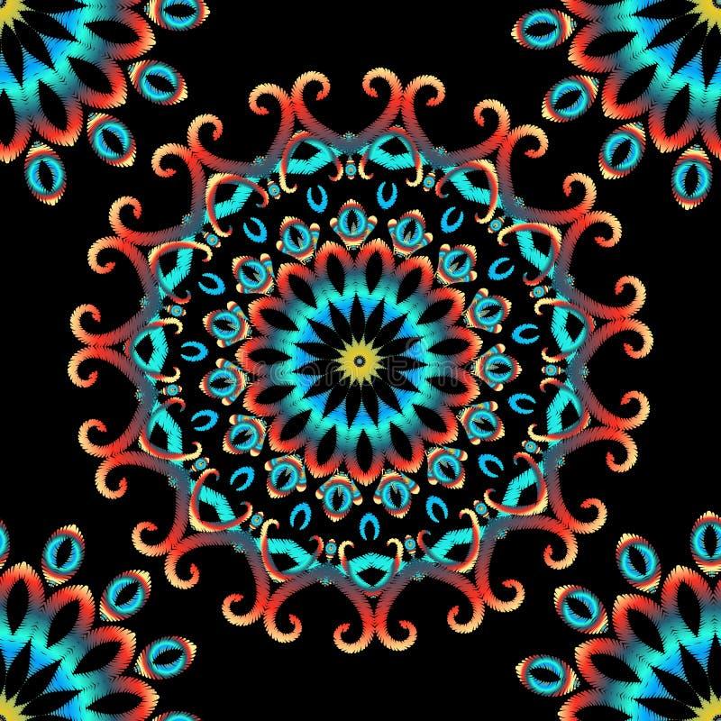 Patroon van borduurwerk het kleurrijke bloemen naadloze mandala Vector grungy achtergrond Geweven bloemen etnisch kantornament me vector illustratie