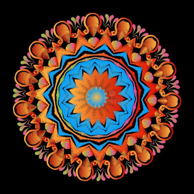 Patroon van borduurwerk het kleurrijke bloemenmandala Vector sier grungy achtergrond Geweven bloemen etnisch rond ornament met stock illustratie