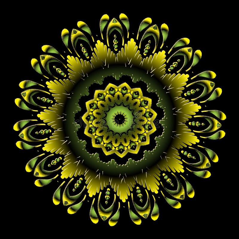 Patroon van borduurwerk het kleurrijke bloemenmandala Vector sier grungy achtergrond Geweven bloemen etnisch rond ornament met vector illustratie