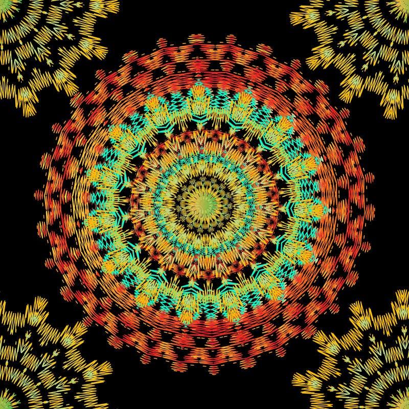 Patroon van borduurwerk het kleurrijke naadloze mandala Vector sier kanten achtergrond Geweven uitbroedend etnisch ornament met t vector illustratie