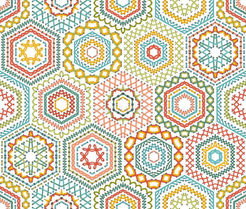 Patroon van borduurwerk het naadloze zeshoeken vector illustratie