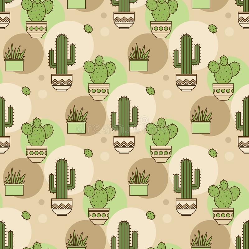 Patroon van cactussen Lineaire illustratie Vector vector illustratie