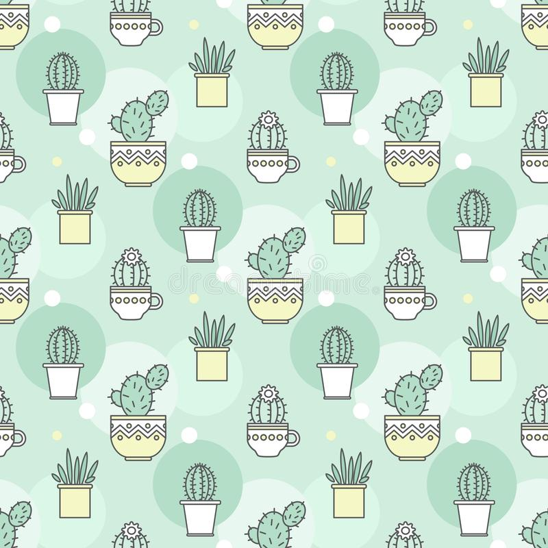 Patroon van cactussen Lineaire illustratie Vector stock illustratie