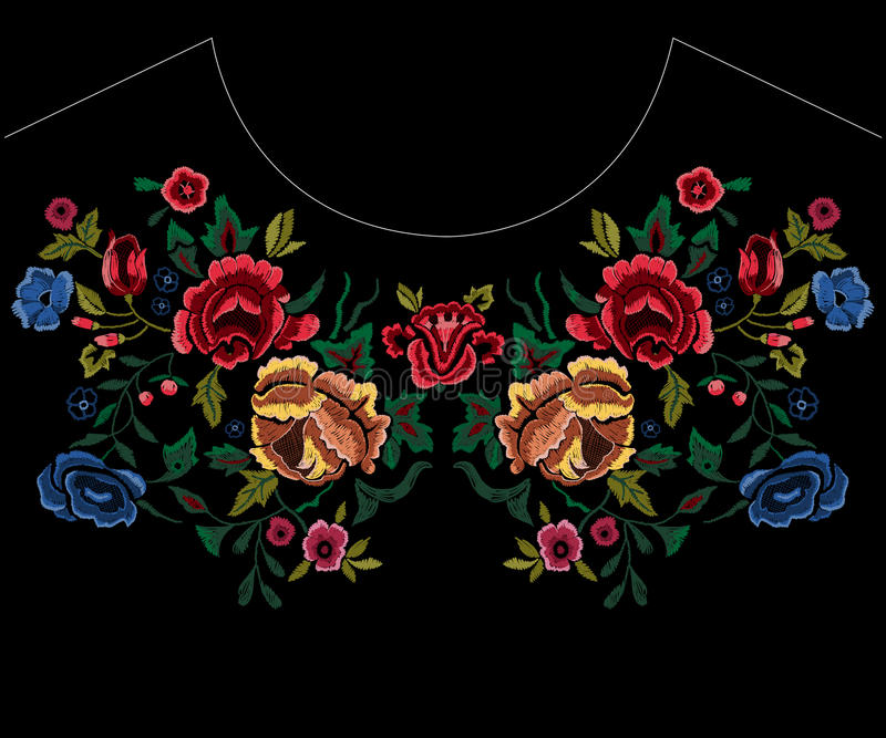 Patroon van de borduurwerk het botanische halslijn met rode en blauwe rozen stock illustratie