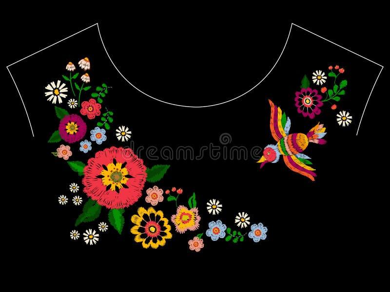 Patroon van de borduurwerk het etnische halslijn met vogel en bloemen stock illustratie