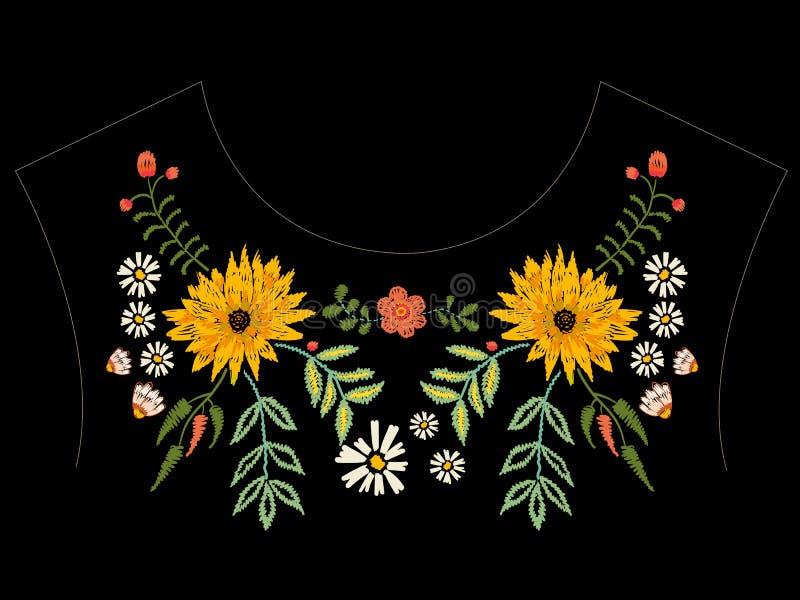 Patroon van de borduurwerk het inheemse halslijn met asters en kamilles vector illustratie
