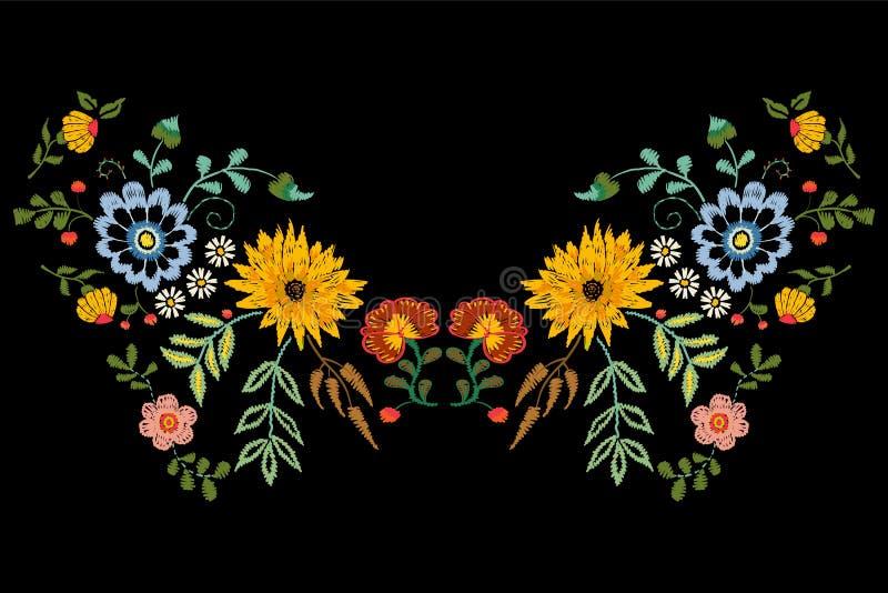 Patroon van de borduurwerk het inheemse halslijn met fantasiebloemen royalty-vrije illustratie