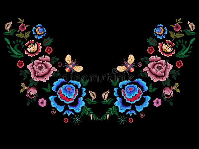 Patroon van de borduurwerk het volkshalslijn met bloemen en bij vector illustratie