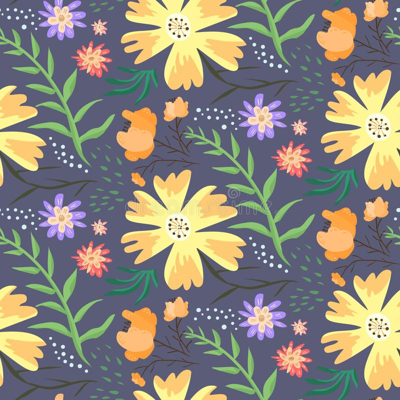 Patroon van de contrast het bloemenzomer met oranje bloemen royalty-vrije illustratie