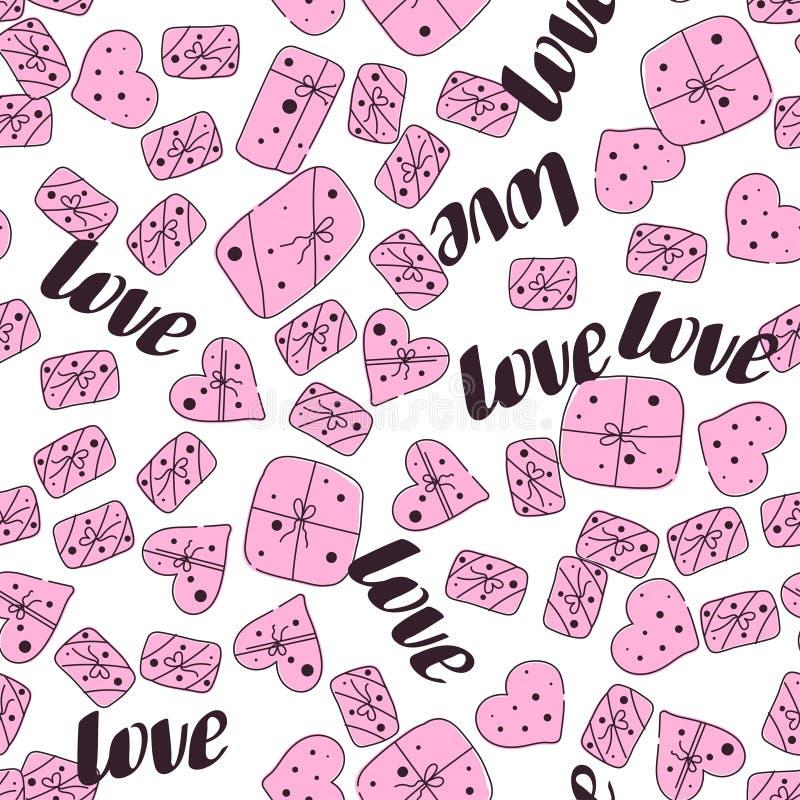 Patroon van de de daglijn van liefde het naadloze valentijnskaarten stock illustratie