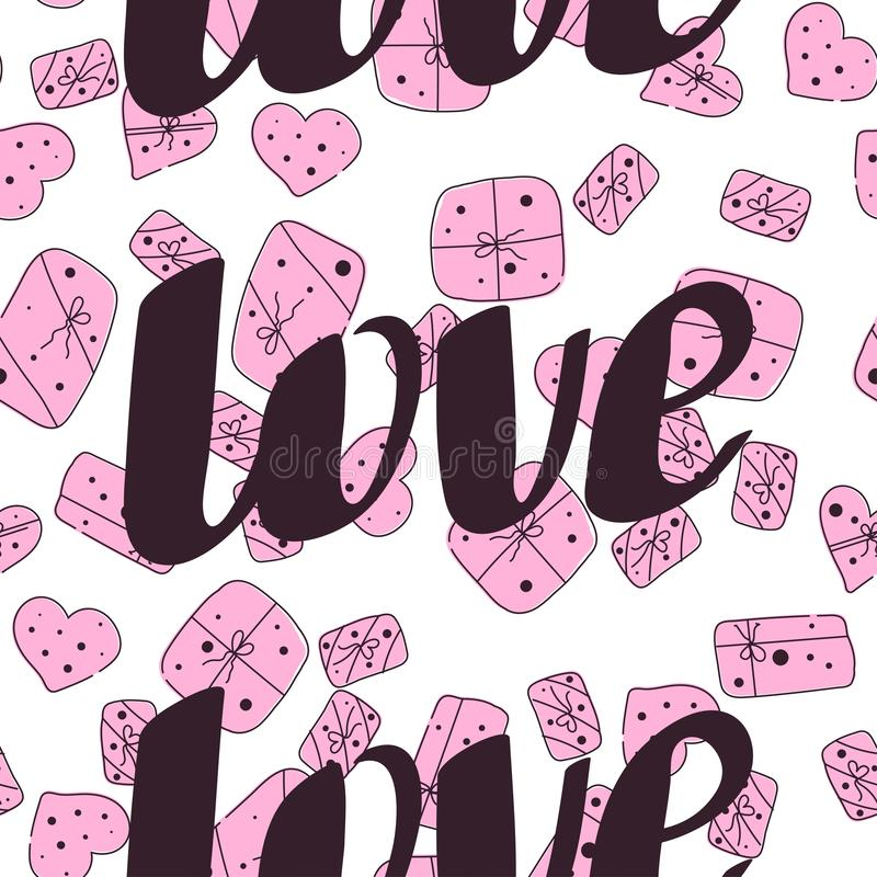 Patroon van de de daglijn van liefde het naadloze valentijnskaarten vector illustratie