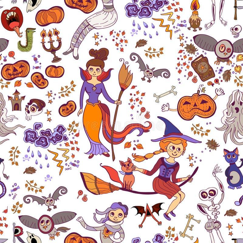 Patroon van de de jonge geitjeskrabbel van Halloween het naadloze heldere De dag van de Doden, Halloween-Thema royalty-vrije illustratie