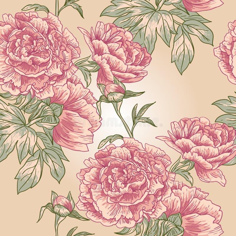Patroon van de elegantie het Naadloze pioen stock illustratie