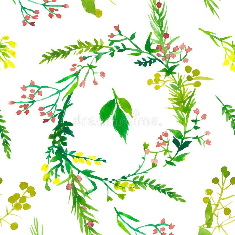 Patroon van de huwelijks het bloemenwaterverf royalty-vrije illustratie
