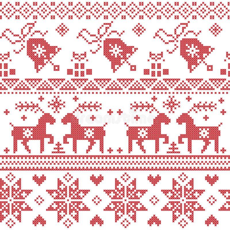 Patroon van de Kerstmis stelt het Noordse dwarssteek met inbegrip van rendier, sneeuwvlok, ster, Kerstmisboom, klok, in rood voor vector illustratie