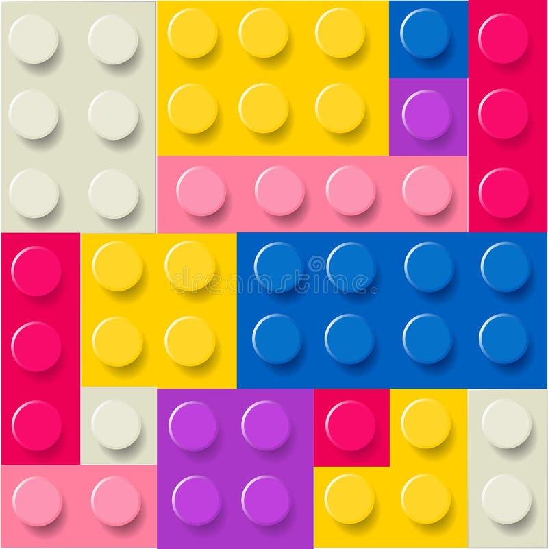 Patroon van de kleurrijke kinderachtige vector van legoblokken royalty-vrije illustratie