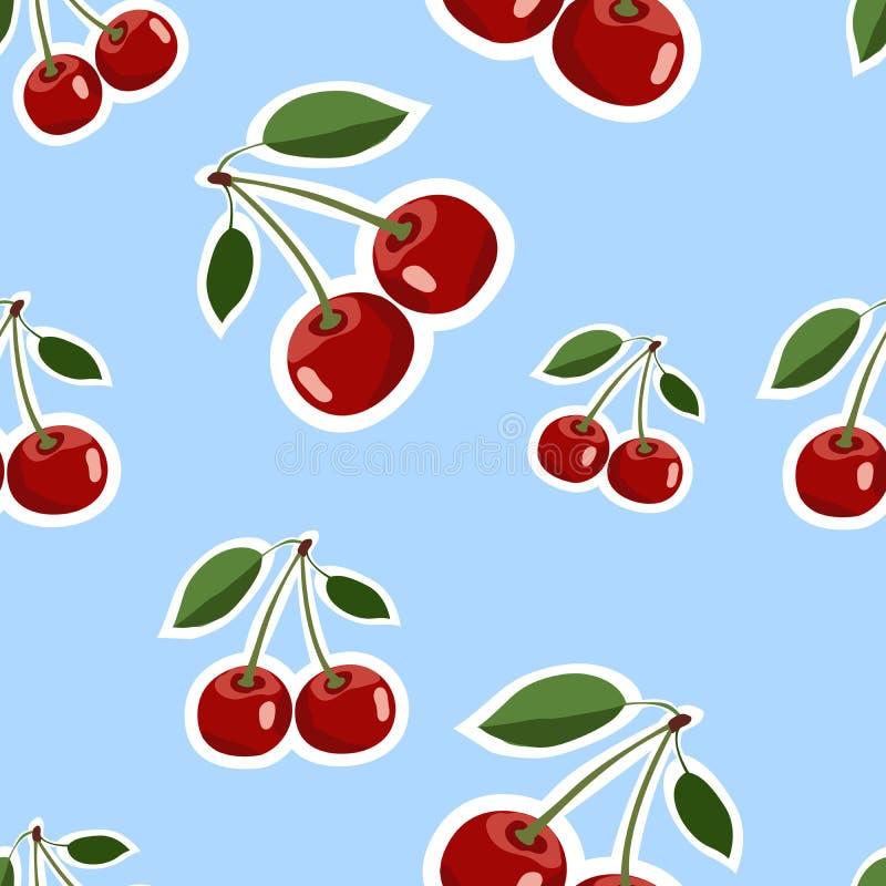 Patroon van de rode grote verschillende grootte van kersenstickers met bladeren op blauwe achtergrond royalty-vrije illustratie