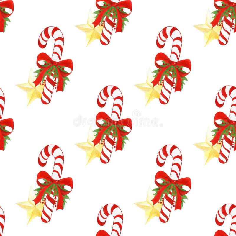 Patroon van de waterverf het hand getrokken vakantie met het riet van het Kerstmissuikergoed, gouden sterren, bogen, hulstbladere vector illustratie
