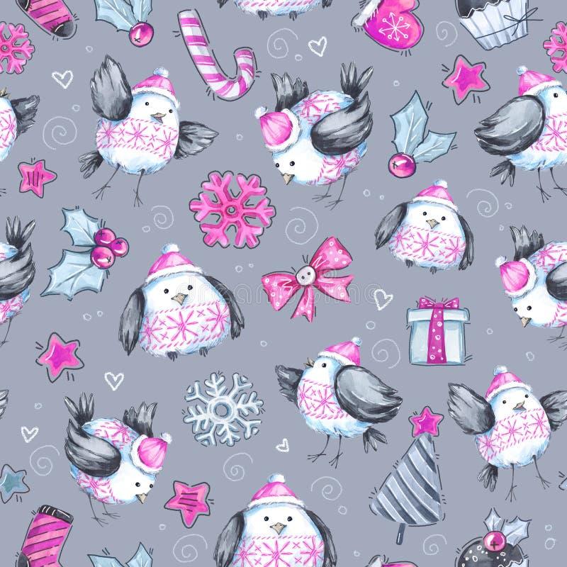 Patroon van de waterverf het naadloze groet met leuke vliegende vogels Nieuw jaar De illustratie van de viering Vrolijke Kerstmis royalty-vrije illustratie
