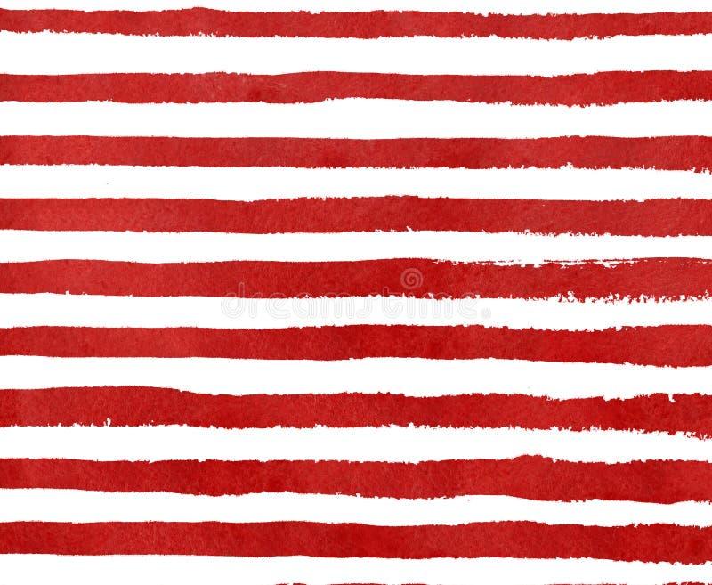 Patroon van de waterverf het rode streep grunge royalty-vrije illustratie