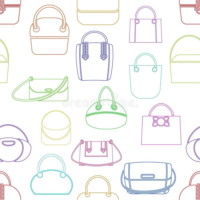 Patroon van diverse modieuze vrouwens handtassen verschillende kleuren lineaire stijl Vector illustratie stock illustratie