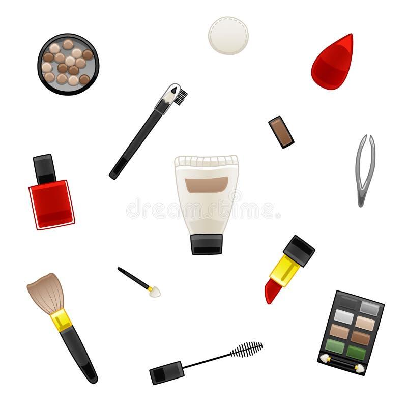 Patroon van diverse schoonheidsmiddelen vector illustratie