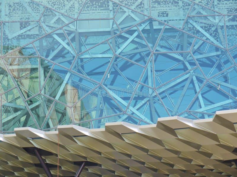 Patroon van een gebouw bij Gevoed vierkant stock fotografie