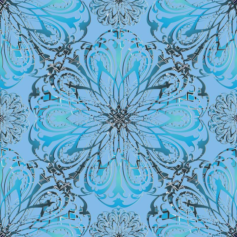 Patroon van elegantie het bloemen 3d vector naadloze mandala stock illustratie