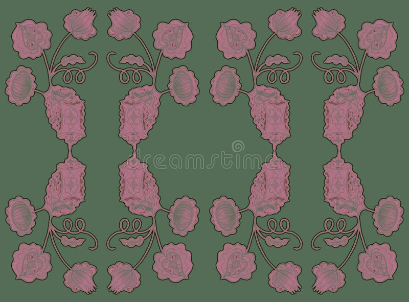 Patroon van gestileerde installaties op een gekleurde achtergrond voor divers ontwerp vector illustratie