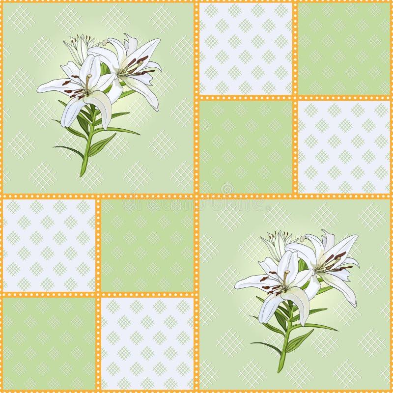 Patroon van groene vierkanten met witte leliebloem stock illustratie